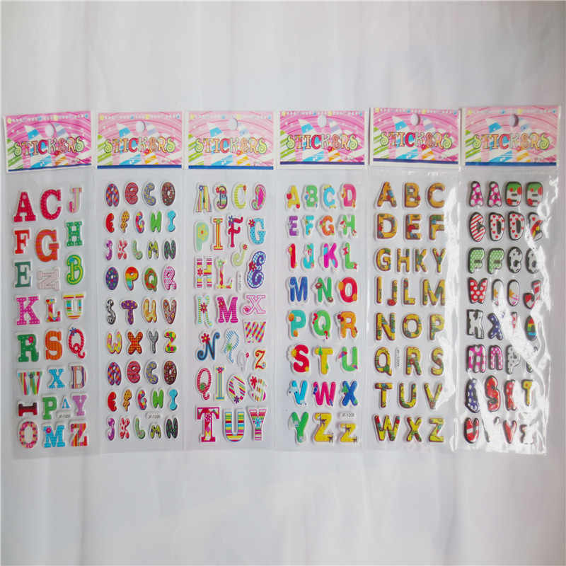 5 sheets/lot Numbers and English letters Bubble Stickers early Educational Digital Stickers For baby Kids Toys