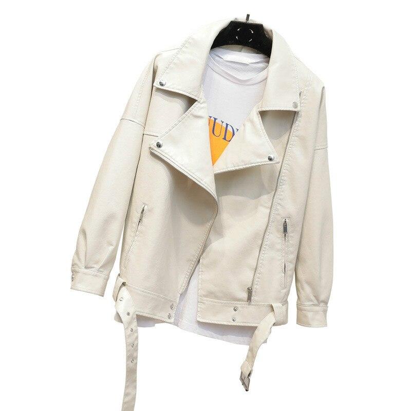 White Faux Leather Jackets Women 2019 Spring Autumn Rivets Short Female Coat Moto Casual Biker Pu Leather Jacket Outerwear Tops
