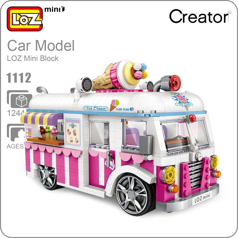 LOZ Mini Blocks Building Bricks Technic Ice Cream Van Pink Car Cake Bus Model Educational Assembly Kids Toys Gift Creator 1112