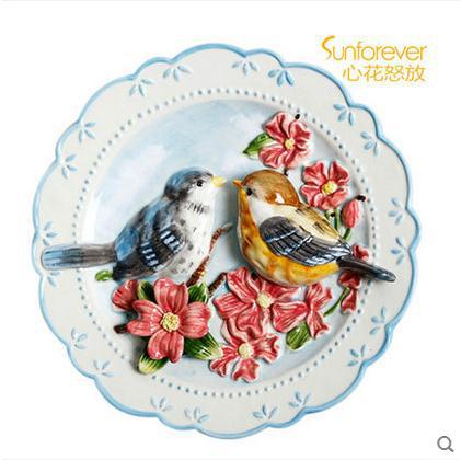 Los amantes de los pájaros decorativos platos de pared platos de - Decoración del hogar