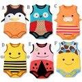 Moda Mameluco Del Bebé Del Algodón Sin Mangas Lindo Modelo Animal de la Historieta de Una Pieza Body Suits Summer Mameluco Del Bebé 0-2 T CD891