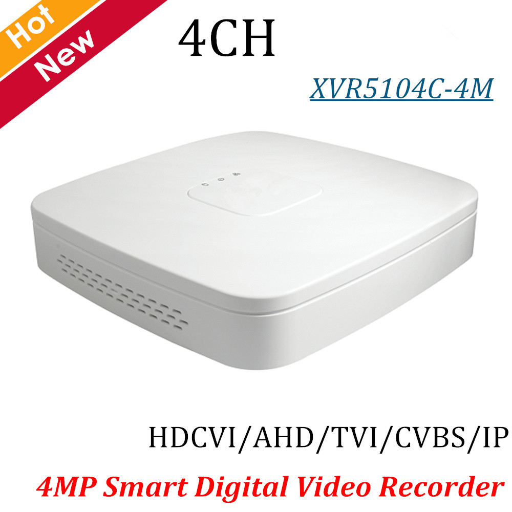 New DH 4MP XVR Recorder XVR5104C-4M 4 Ch Smart 1U Digital Video Recorder H.264 Max 6ch IP camera inputs up to 5MP P2P protector s1004v 4 ch h 264 hard disk digital video recorder w wired mouse black