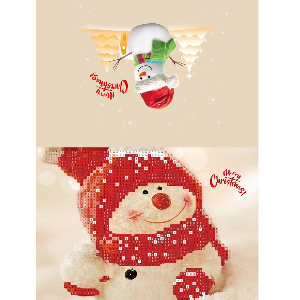 New Year 2019 Diamond Cartoon Painting Mini Santa Claus Merry Christmas Paper Craft Postcards Gifts Decoration Noel Cristmas