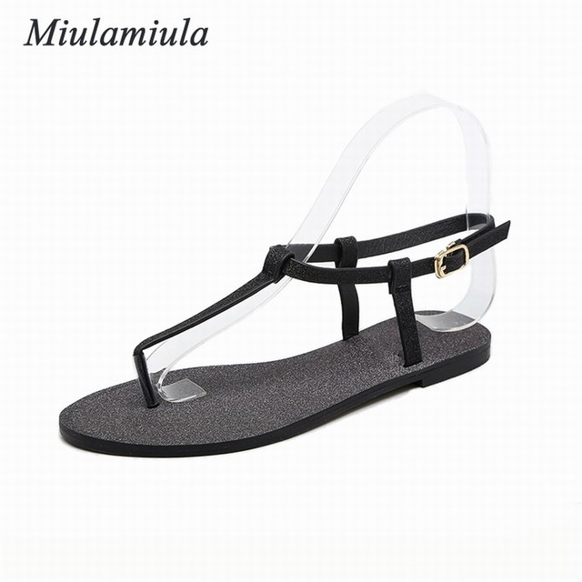 dc554f5cd30f0f Miulamiula Gladiator Summer Style women s sexy Flat Sandals Buckle Strap  Sparkling Concise woman shoes US5-9 Silver Black