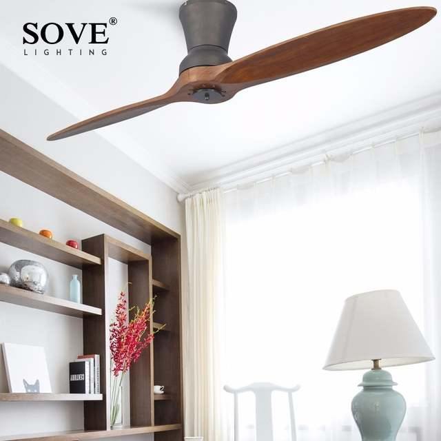 Online Shop Modern Led Village Industrial Wooden Ceiling Fan With
