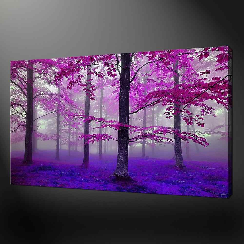 2018 High Quality Beautiful Purple Forest Canvas Painting Poster Wall Picture Living Room Decor Home Decoration