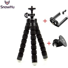 SnowHu For GoPro Flexible Mini OctopusTripod With Screw Mount Adapter For Go Pro Hero 9 8 7 6 5  For Xiaomi yi SJCAM Camera LD06