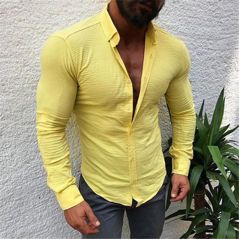 2019 Men Casual Long Sleeved Solid Shirt Slim Fit Male Social Business Dress Shirt Brand Men Clothing Soft Comfortable