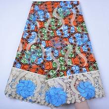 Высокое качество Hollandais супер воск Новое поступление Анкара воск кружевная ткань африканская вышивка голландский воск с гипюровой кружевной ткани 1295