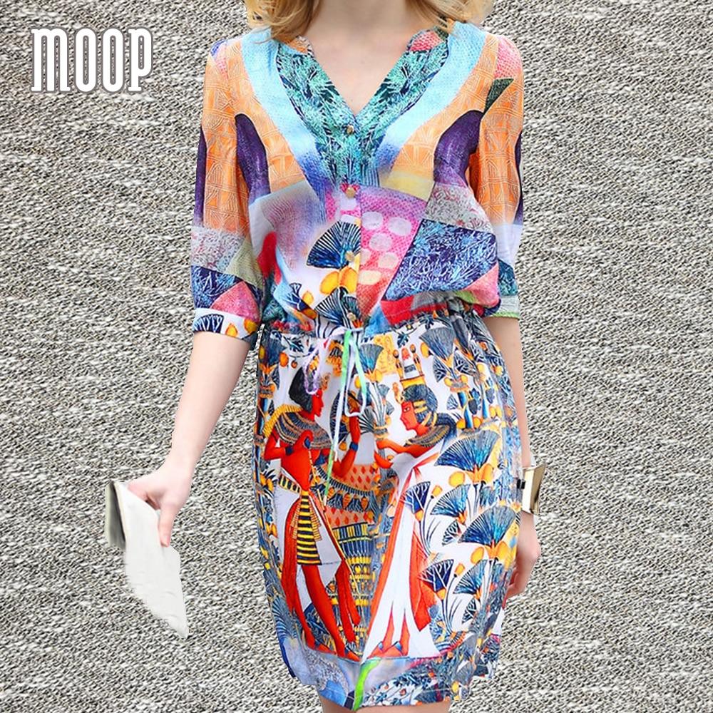 Women cute fashion print summer pure silk dress ruched waist V-Neck A-Line mini sundress robe femme ropa mujer LT1393 free ship