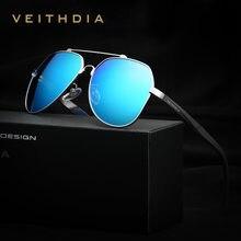 fa5b2bcdd VEITHDIA Marca de Alumínio E Magnésio dos homens Big Oversize Lente Azul Óculos  Polarizados Óculos Óculos De Sol Para Homens Mas.
