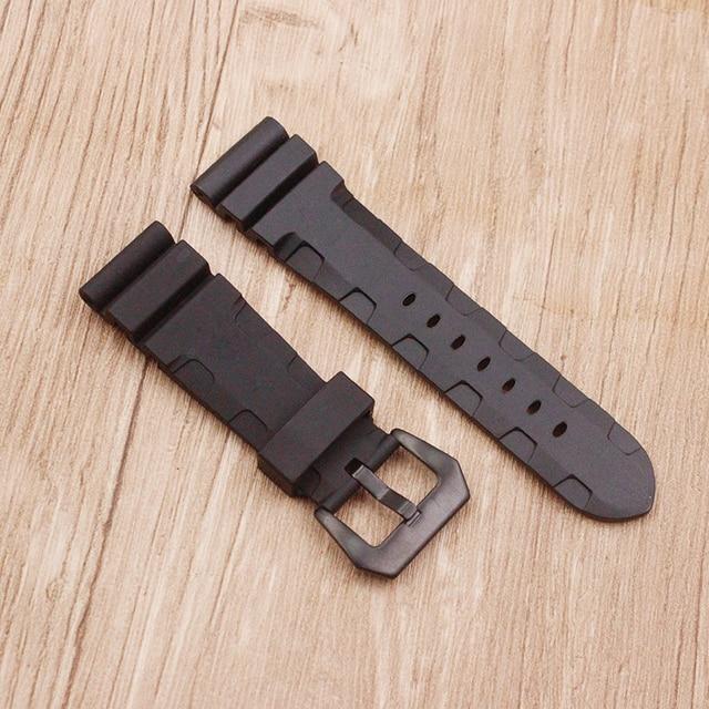 Watch accessories sweat-absorbent silicone strap for Panerai 1950 series PAM00616 00682 waterproof rubber 24mm men's watch belt 4
