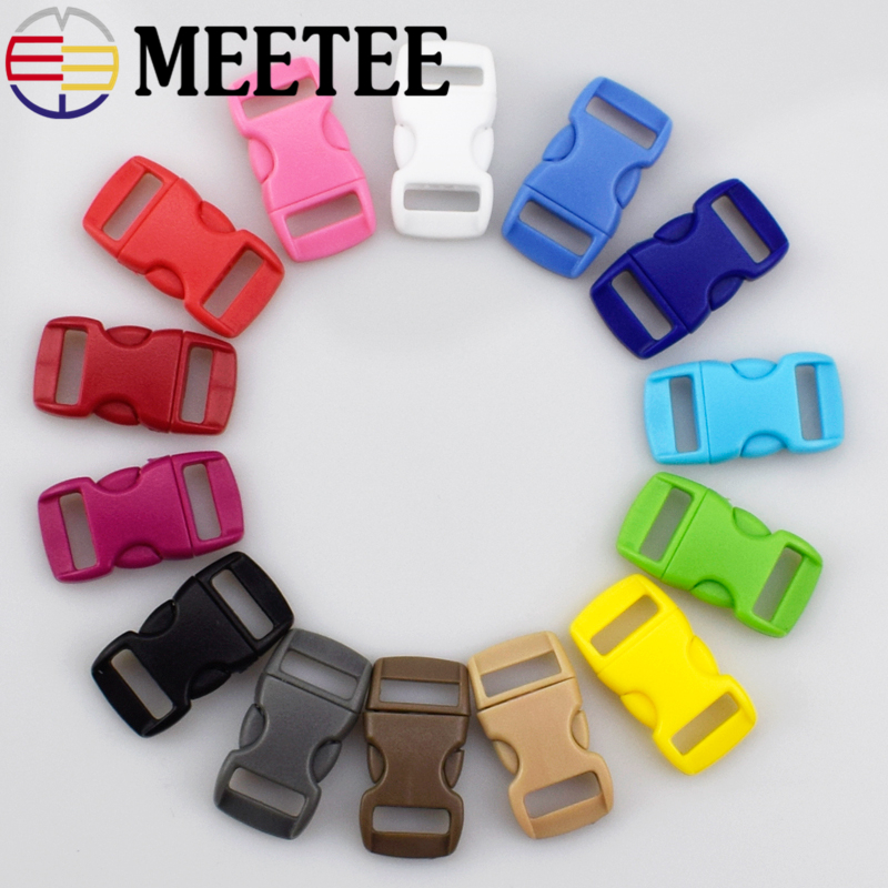 40Sets/lot Meetee 15mm 10mm plastic buckle backpack buckle mix colors Pet collar safety buckle F5-6