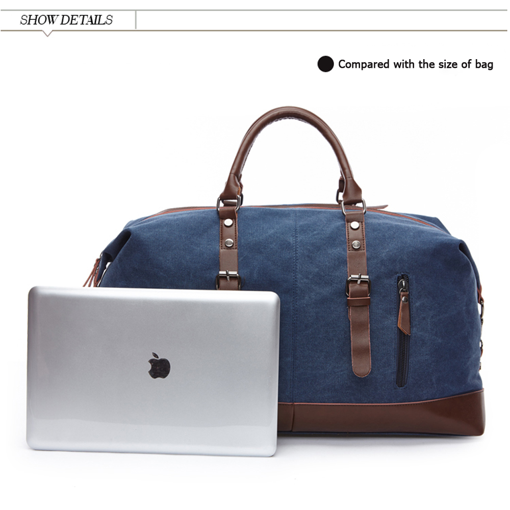 a laptop and a duffle