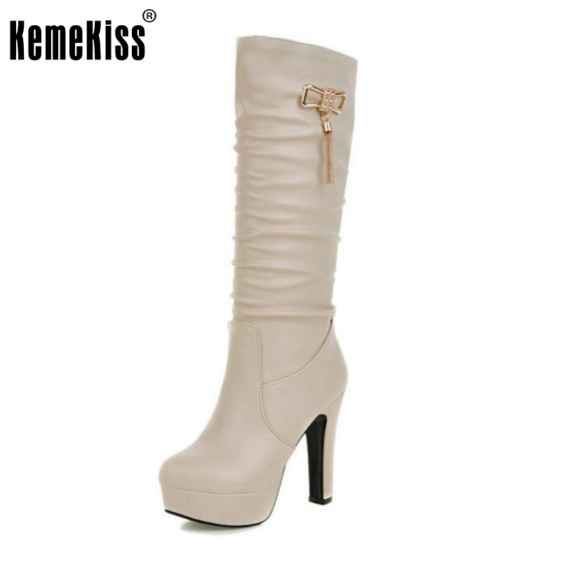 ФОТО Elegant Women Thick Heel Knee High Boots Pleated Bowtie Bowknot Platform Female Shoes Fashion Autumn Winter Botas Size 31-45
