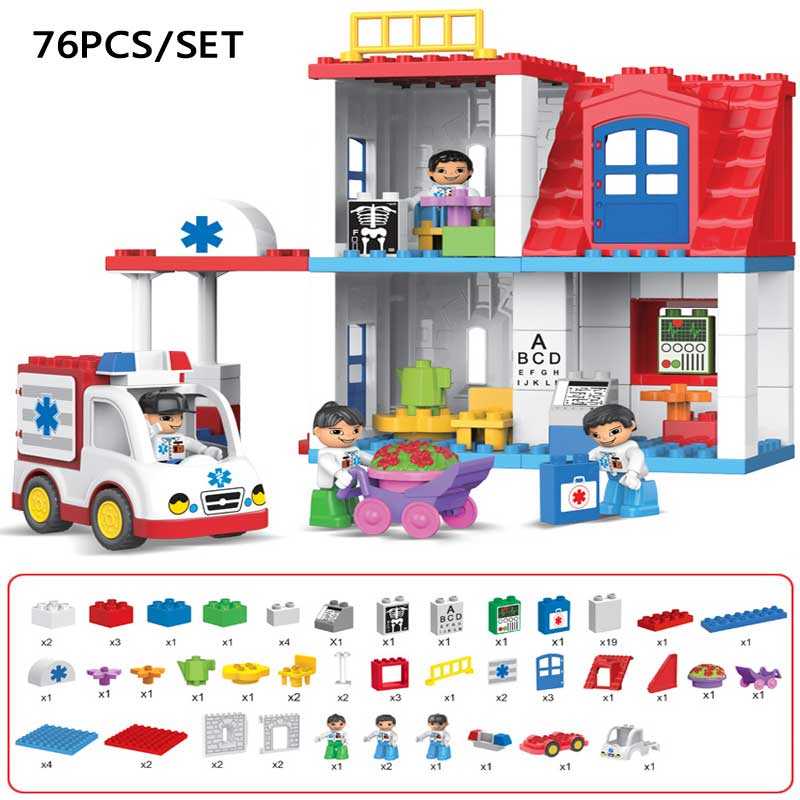 Original Duplo City Hospital Rescue Large Particle Building Block Kids Toy City Ambulance Model DIY Brick Toy Compatible Duplo kid s home toys large particles happy farm animals paradise model building blocks large size diy brick toy compatible with duplo