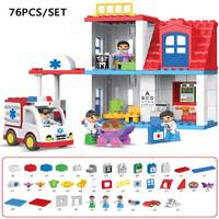 Original Duploe City Hospital Rescue Large Particle Building Block Kids Toy City Ambulance Model DIY Brick Toy Compatible Duploe