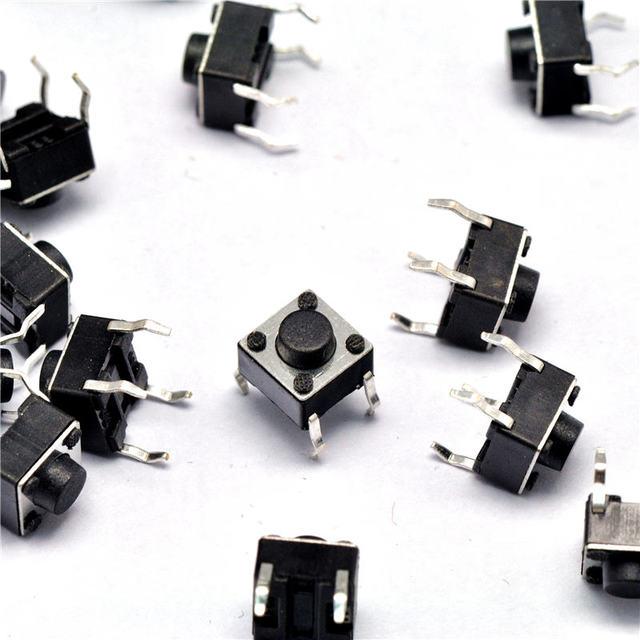 100 шт. 6x6x5 мм сенсорный выключатель света DIP4 ON/OFF 6*6*5 touch Сенсорная Кнопка Микропереключатель 6*6*5 мм ключи DIP 4PIN Бесплатная доставка