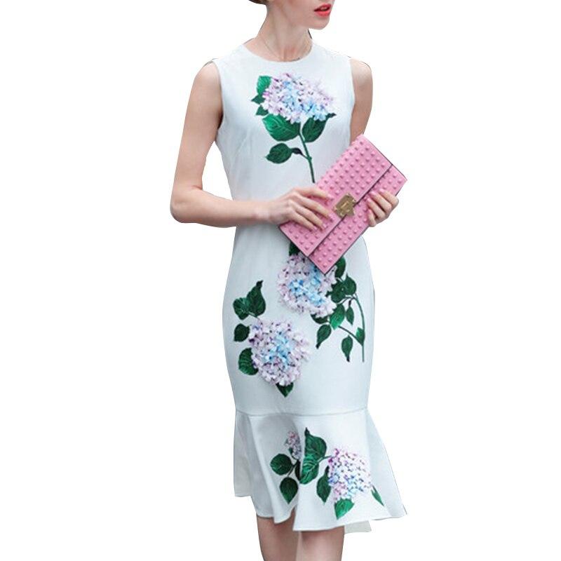 여자 여름 드레스 2019 고품질 3d 꽃 o 넥 민소매 인쇄 우아한 인어 드레스 vestidos sad576n-에서드레스부터 여성 의류 의  그룹 1