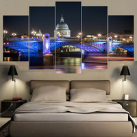 Famous Home Decor Wall Art United Kingdom Night Rivers Poster HD Printed Building Painting 5 Pieces Landscape Canvas Paintings
