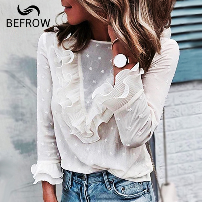 BEFORW Sexy transparente blusas camisa moda Polka Dot blanco Tops blusa y volantes Manga mariposa camisas ropa de mujer