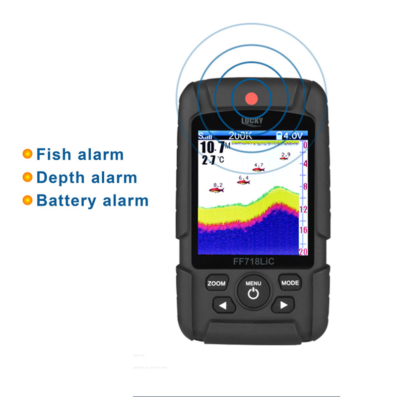 "Image 3 - LUCKY Portable Fish Finder 2.8"" Color LCD 100M Depth Detection Dual Sonar Frequency Fishfinder Wired FF718LiCD T-in Fish Finders from Sports & Entertainment"