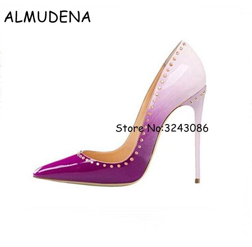 где купить Pink Leather Pointed Toe Rivet Lady High Heels Party Dress Women Pumps Shoes Studs Sexy Shallow Heels Shoes Top Quality Big Size по лучшей цене