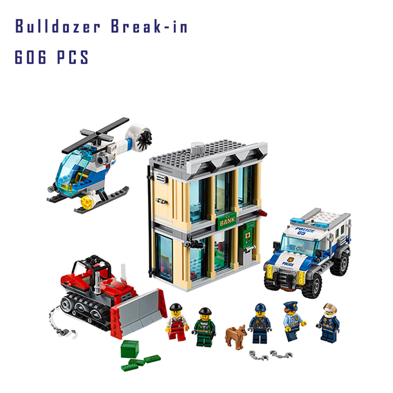 Building Blocks Compatible with lego City 60140 The Bulldozer Break-in lepin 02019 Policeman Models building toys & hobbies city series helicopter surveillance building blocks policeman models toys children boy gifts compatible with legoeinglys 26017