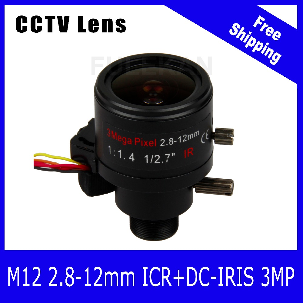 3Megapixel 1/2.7 inch Varifocal Lens 2.8-12mm M12 Mount with ICR and DC-IRIS For 1080P/3MP CCTV IP Camera Free Shipping 3megapixel varifocal cctv lens 5 50mm cs mount dc iris for 720p 1080p box camera ip camera free shipping