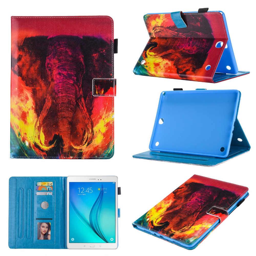 In Lật TPU + PU Leather Bìa Thẻ Đứng Funda Trường Hợp Đối Với Samsung Galaxy Tab 9.7 Một T555 T550 T551 T555C P550 P555 + Phim + bút