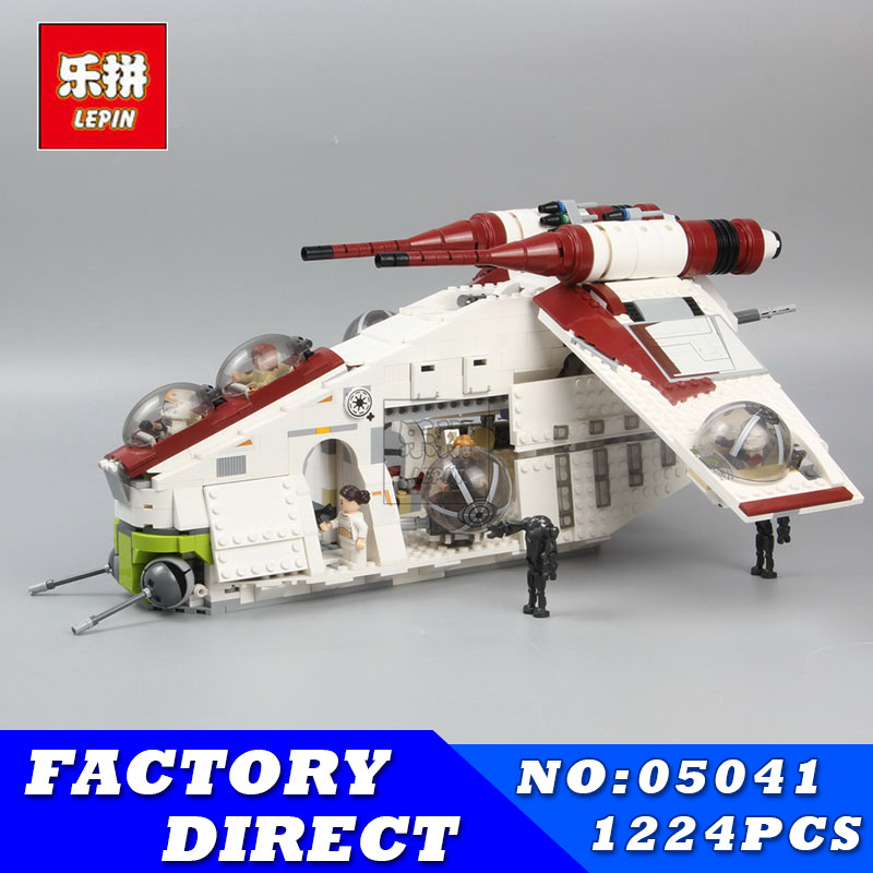 2017 LEPIN 05041 1175Pcs 05004 Star Series Wars Republic Gunship Model Building Blocks Bricks Kits Compatible 75021 Toys Gifts lepin legoing 75021 1224pcs star series wars the republic gunship building blocks brick educational toys for children 05041