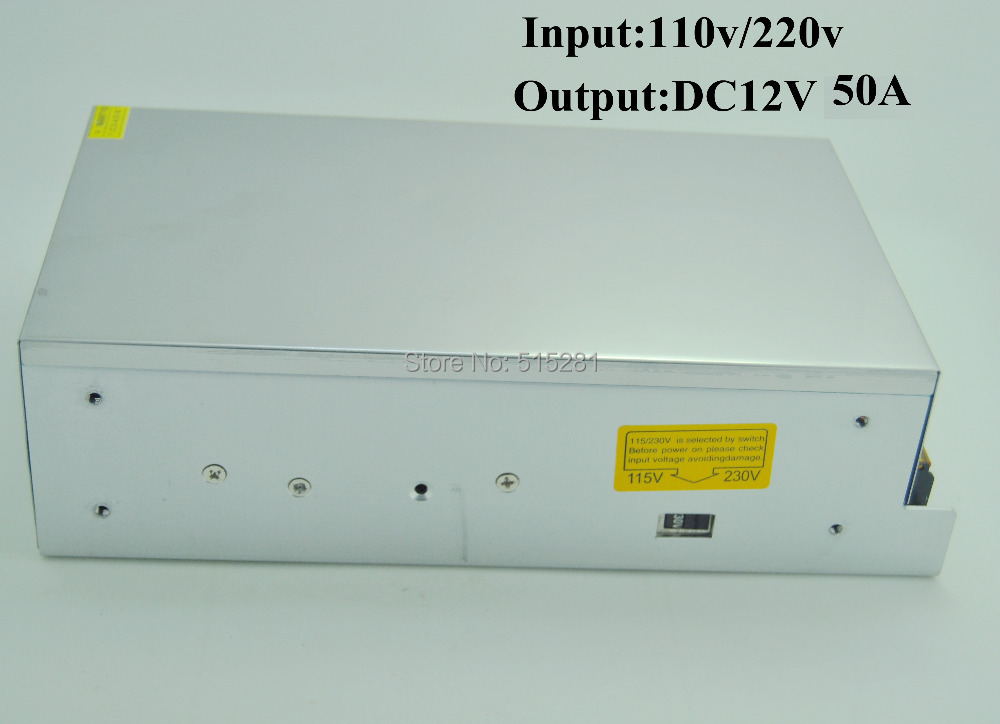LED Switching Power Supply DC12V 50A 600W Transformer Input AC110/220V led switching power supply dc12v 50a 600w transformer input ac110 220v