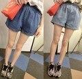 Летом новый мыть широкий талии эластичный пояс джинсовые шорты женские летние женщины