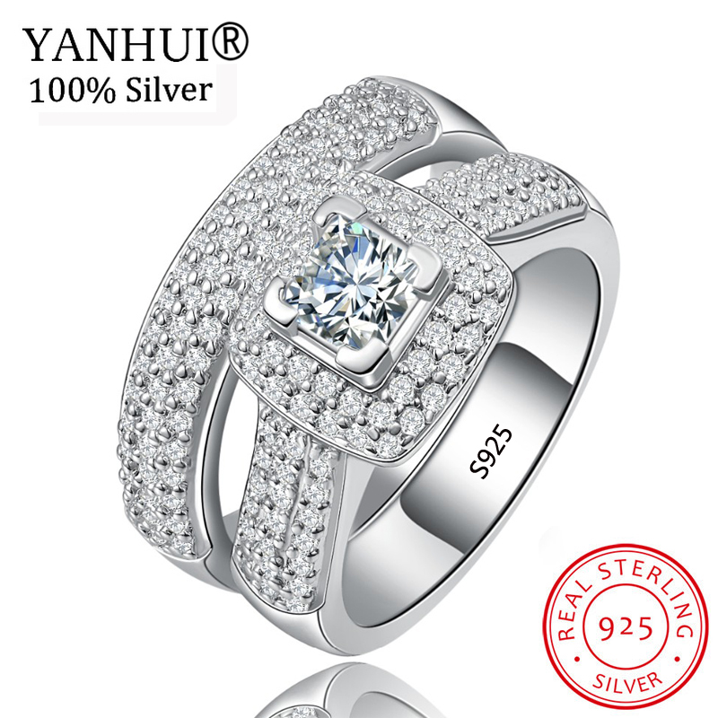 2 pcs/ensemble 100% D'origine Solide 925 Silver Ring Set Pour Les Femmes De Bijoux De Mariage Mousseux Strass Bagues de Fiançailles En Gros HR149