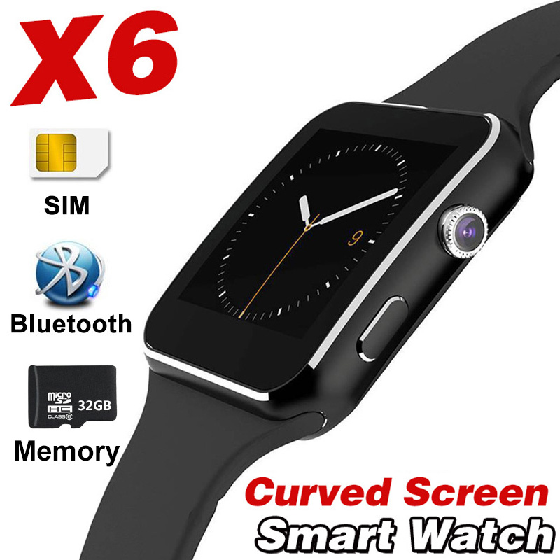 X6 Smart Watch Curved Screen Alloy Bluetooth SmartWatch Record Mail Radio For IOS Android Apple Iphone Samsung band2 A1 Y1 X7 V9