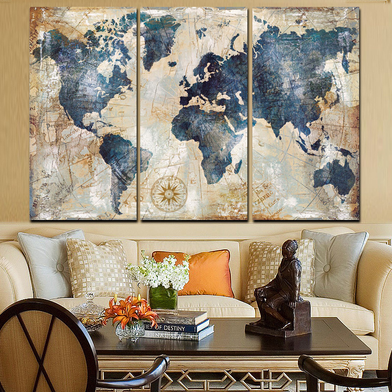 Modulare Malerei Poster Fashion Wand Rahmen Bild 3 Panel Weltkarte ...