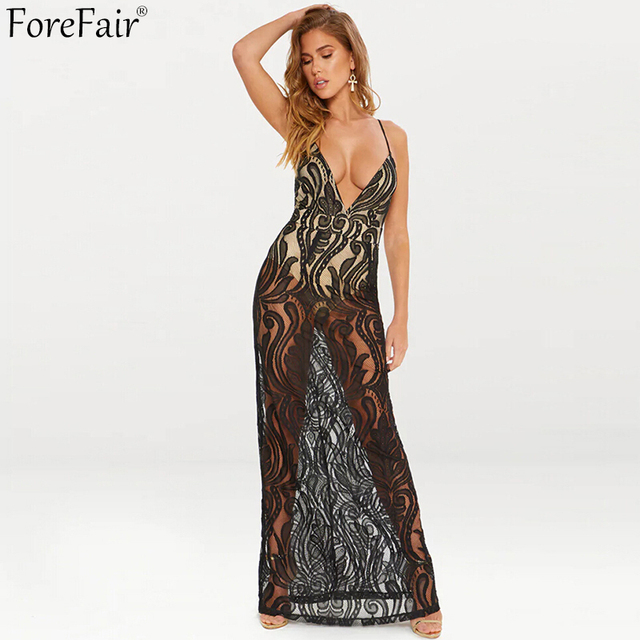 1a97e89e9fc1 Forefair Deep V Neck Backless Hollow Out Lace Summer Long Dress 2018 New Fashion  Sexy Club Party Dreses
