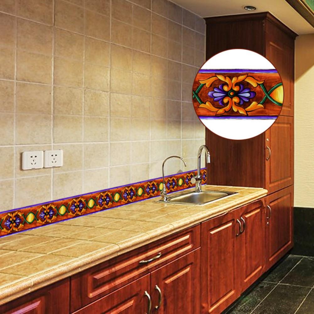 Creative Self Adhesive Baseboard LivingRoom Bathroom Vintage Cross Pattern Waterproof Art Waistline Wallpaper YX003