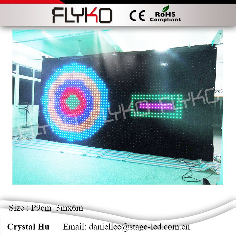 High brightness easy to carry dance halls led video display p90mm 3x6m