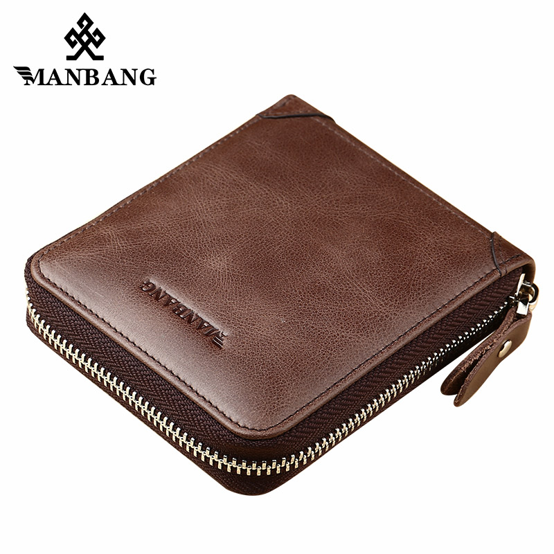 ManBang Genuine Leather Wallet Men Wallets Brand High Quality Zipper Men Short Fold Wallet Pocket Purse Wallets Male Card Holder fashion genuine leather men wallets small zipper men wallet male short coin purse high quality brand casual card holder bag
