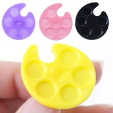 1Pc Mini Plastic Finger Ring 4 Colors Nail Art Mixing Palette For Hand Manicure Ring Nail Tools Nail Form(China)