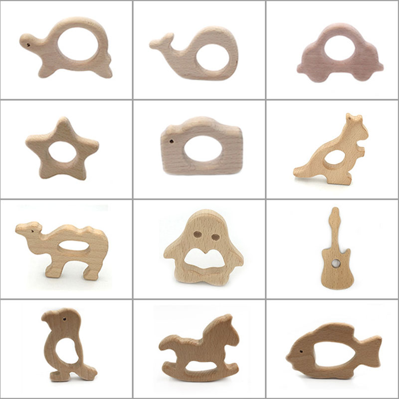 1pcs Baby Wood Teether Toy Kids Brain Game Toys Handmade Crafts Gift Beech Wood Child Blocks food grade Wooden Molar teeth image
