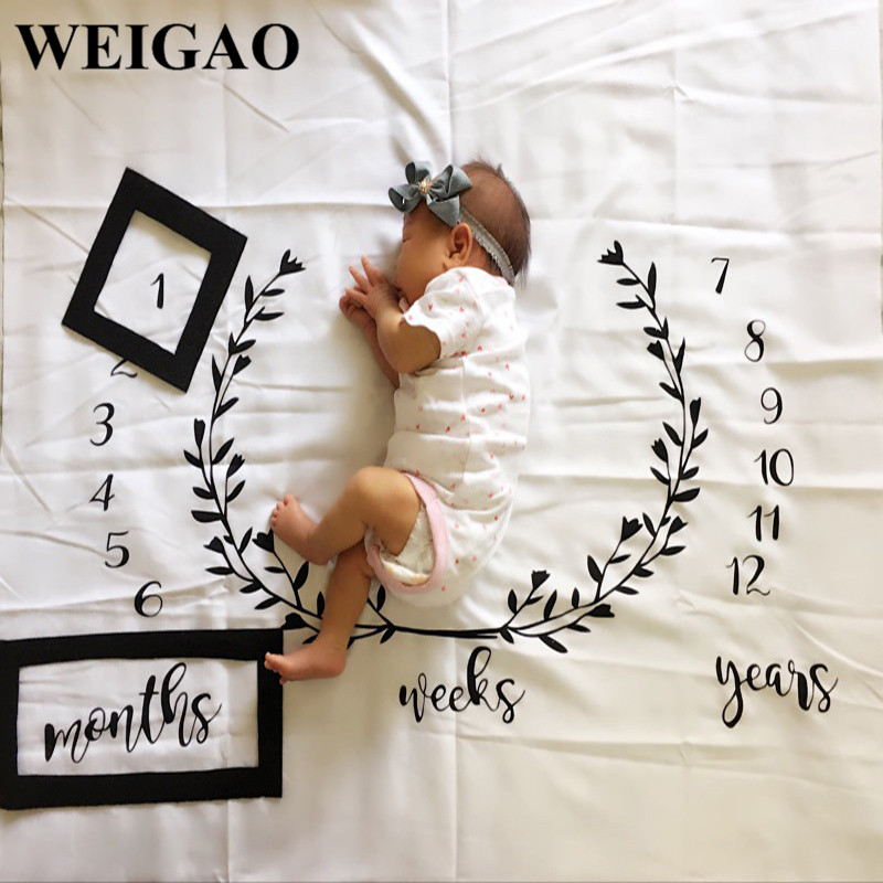 WEIGAO 1Pc Baby Milestone Blanket Cloth Decor Baby Shower Decoration Props First Year Girl Boy Photography Prop First Year Gift