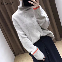 Lafarvie 2019 Autumn Winter Cashmere Blended Knitted Sweater Women Loose Turtleneck Pullover Female Gray Thick Basic Sweater turtleneck pullovers loose basic sweater autumn and winter tops solid cashmere sweater women loose thick mink cashmere sweater