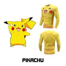цены на Japanese Anime Fitness Men Top Tee Pokemon Pikachu Long Sleeve 3D Print Cartoon T shirt Compression Sports Muscle Casual Tops  в интернет-магазинах