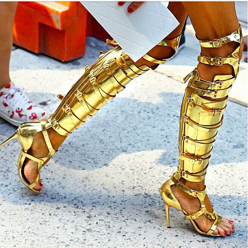 Knee High Sandals Boots Metal Gladiator Boots Women Paten Leather Buckle Boots Summer Peep Toe Hollow Sandals Stiletto Booties denim zipper hollow worn stiletto womens sandals