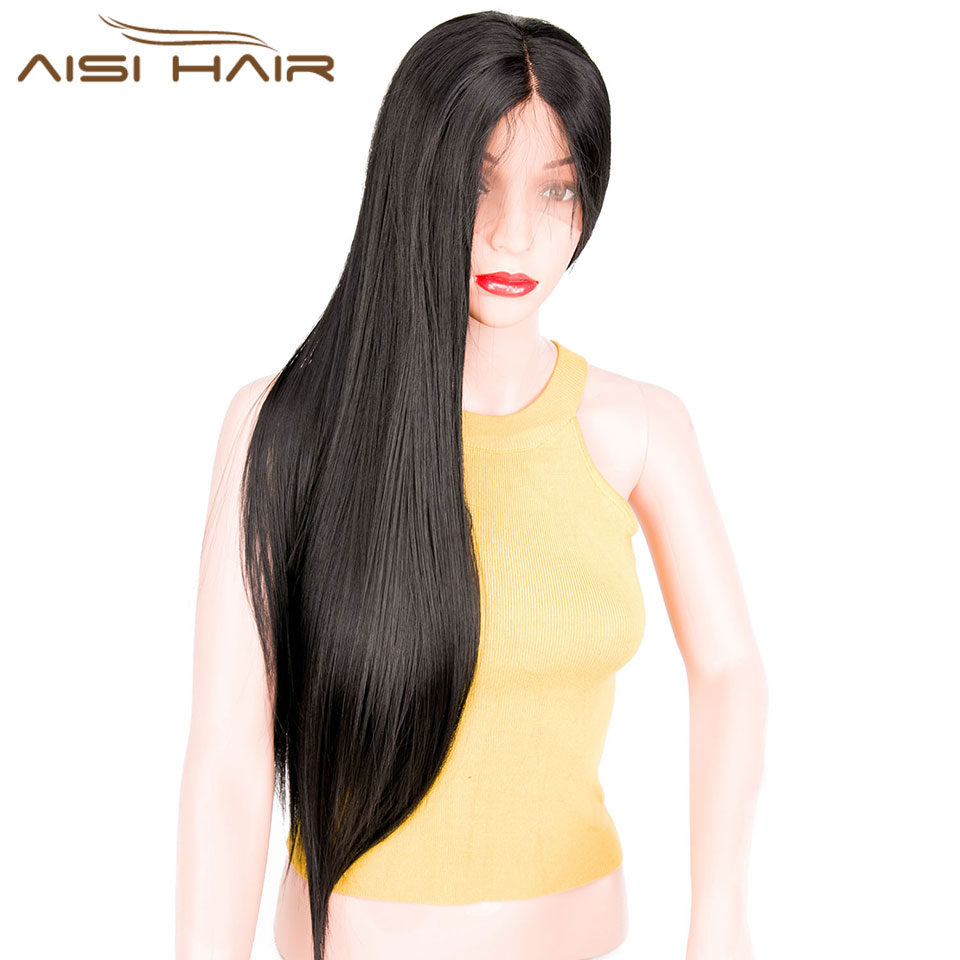 I's a wig AISI AHIR 26Long Straigtht Black Synthetic Lace Front Wig with Baby Hair African American Braided Wigs for Women