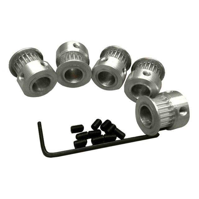 5 шт. GT2 2GT alumium зубчатый шкив 20 зубов alumium Диаметр 5 мм подходит для GT2 Ширина ремня 6 мм для CNC 3D принтера