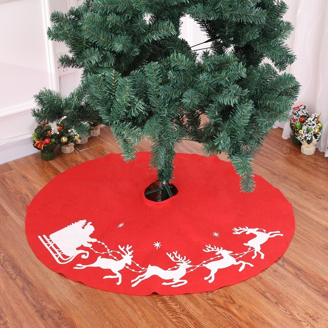 large christmas tree skirt 100cm non woven apron stands base festival party decoration round
