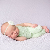 Newborn Photography Props Knit Crochet Mohair Baby Costumes Infant Flower Headwear Bib Pants Baby Girls Photo Shoot Props